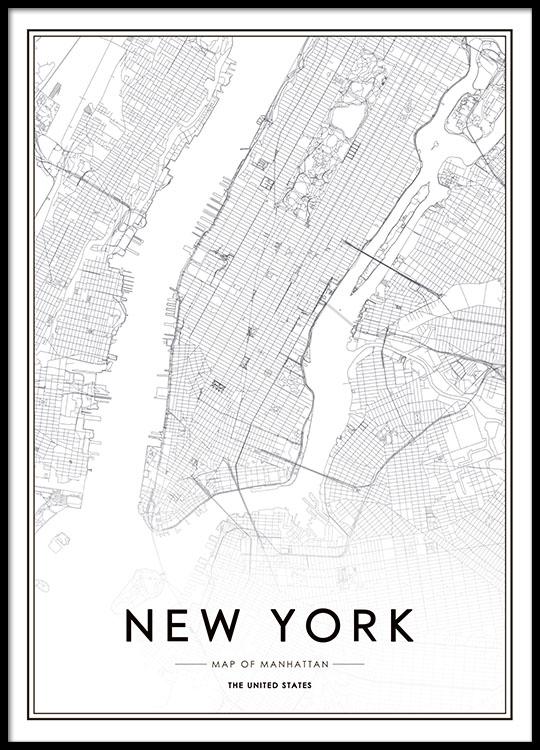 Tavla Med New York Karta Poster Affisch Manhattan Tavlor