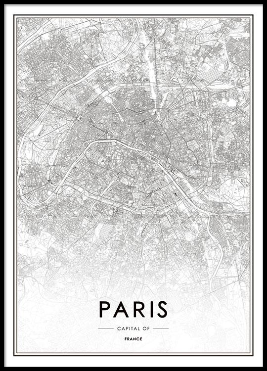 Tavla Poster Med Paris Karta Affisch Desenio Se