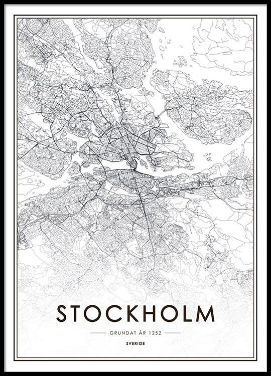 Poster Tavla Med Stockholm Karta Affisch Med Stockholm Desenio Se