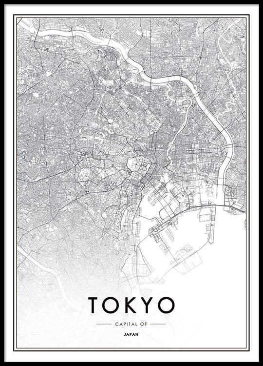 Poster Med Tokyo Karta Affischer Och Planscher Med Stader