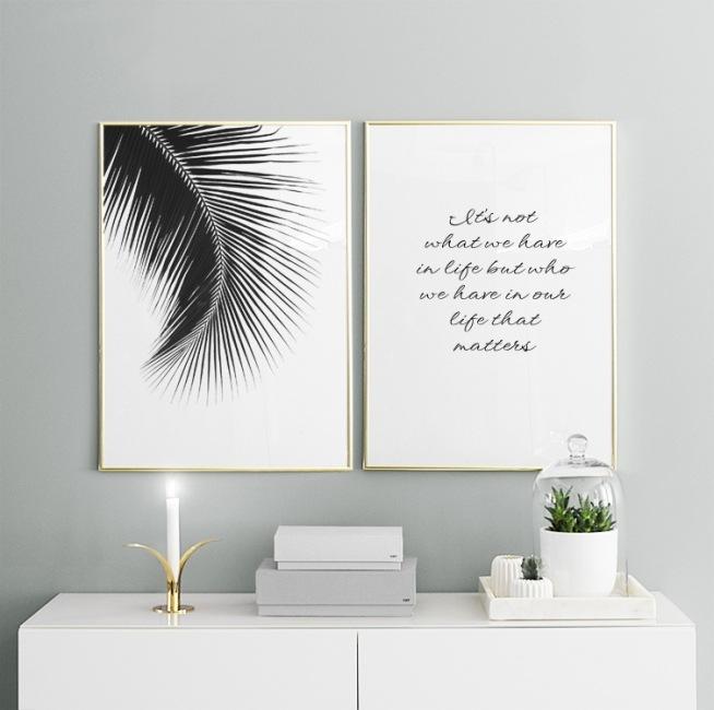 poster med svartvitt foto till inredning tavla med palmblad. Black Bedroom Furniture Sets. Home Design Ideas