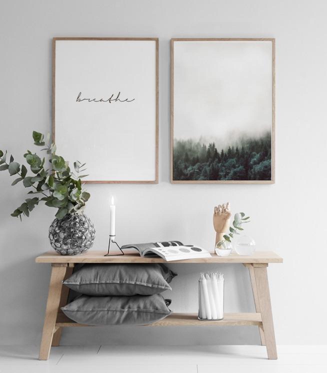 Texttavlor posters och affischer med text och citat ordet breathe - Bilderwand skandinavisch ...