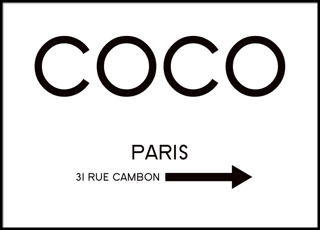 rue cambon poster med text 39 coco 39 fr n desenio. Black Bedroom Furniture Sets. Home Design Ideas