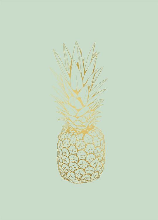 Poster Med Ananas I Guld Tavla Med Guldtryck