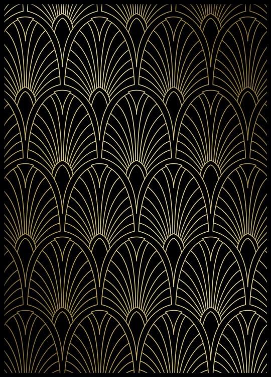 m nstrad print med guldfoliering art deco. Black Bedroom Furniture Sets. Home Design Ideas