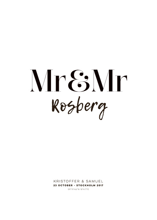 Mr and Mr Personal Poster / Personliga posters hos Desenio AB (pp0013)