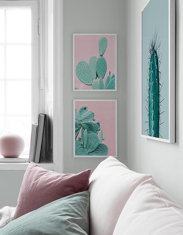Trendiga tavlor med kaktusar i rosa och grönt