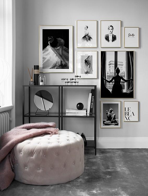 Fashionposters i svartvitt kollage