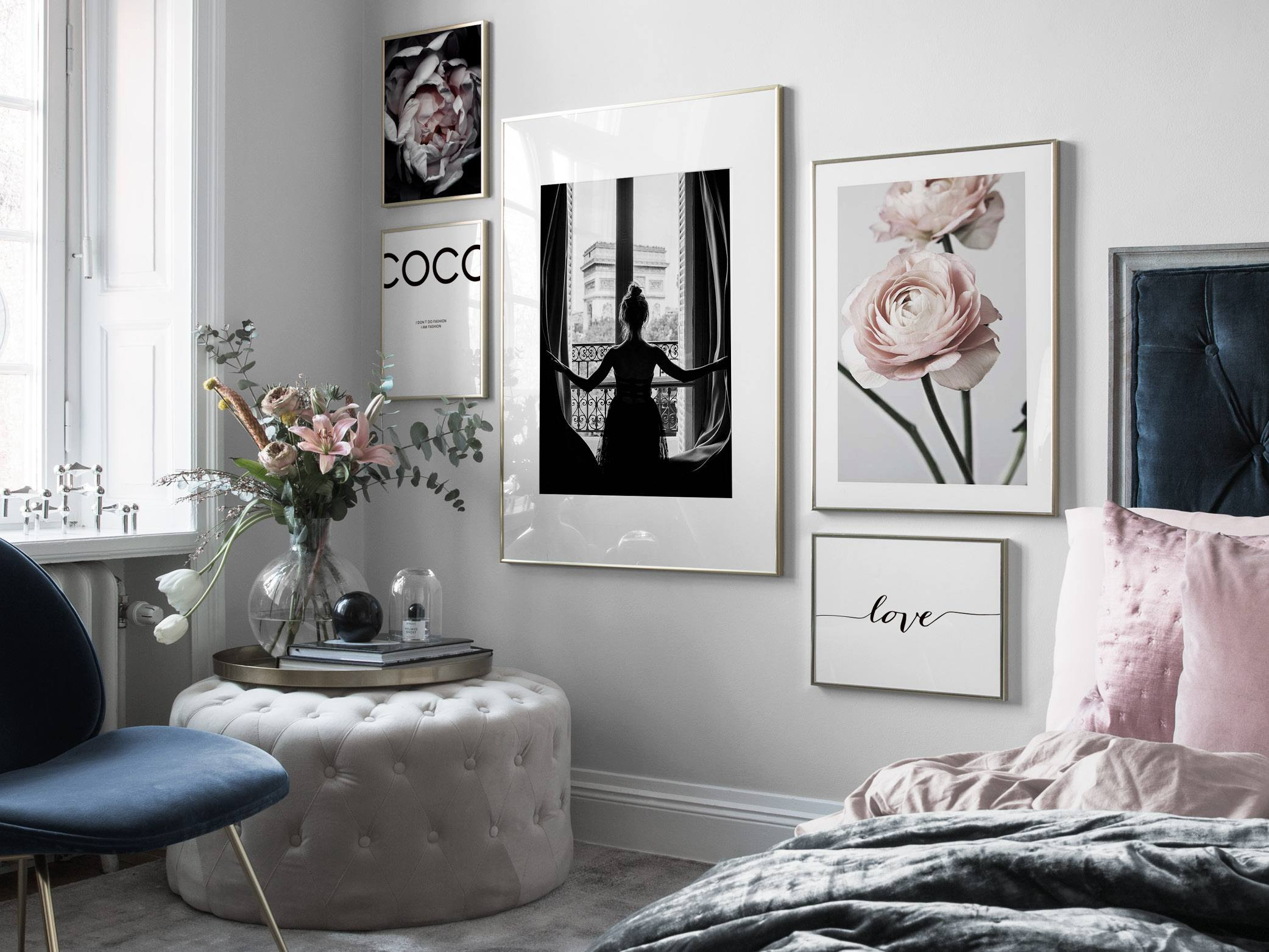 Feminine romantic bedroom with muted colours and soft materials