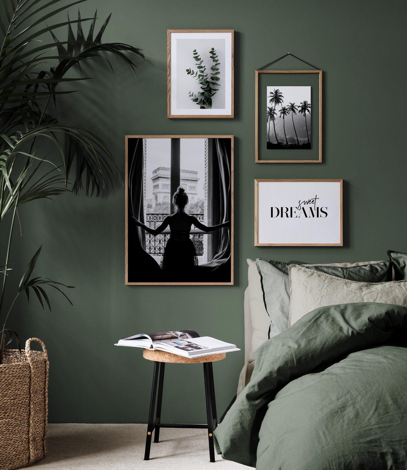 fotowand in de slaapkamer inrichting en posters voor de slaapkamer. Black Bedroom Furniture Sets. Home Design Ideas