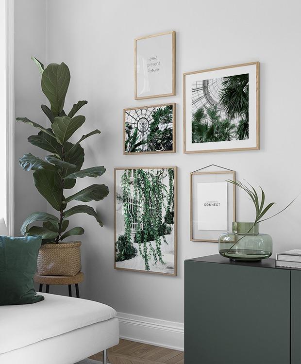 Vardagsrum inspo - botaniska posters och växter