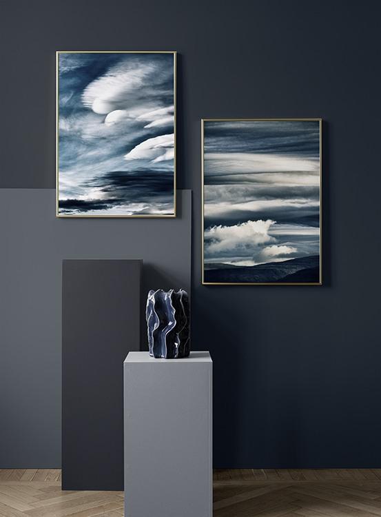 Abstrakta tavlor i blått
