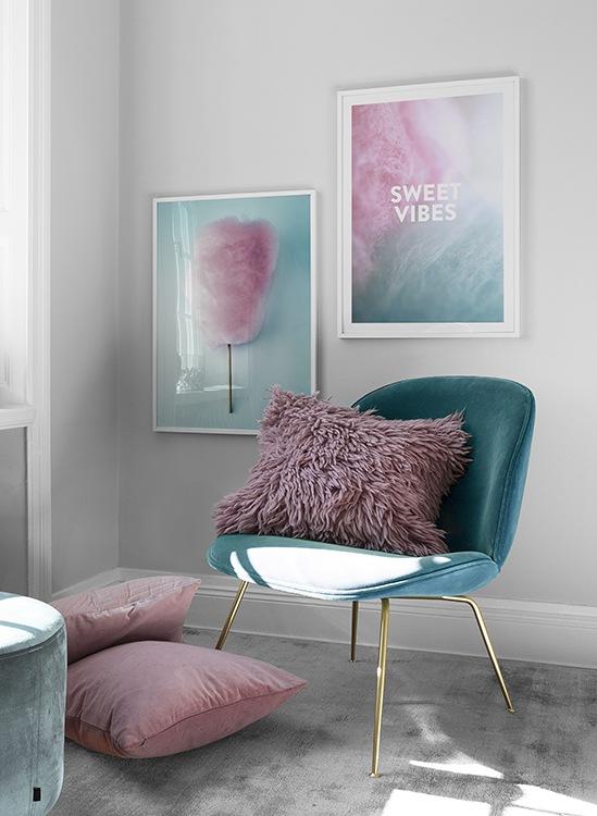 Inspiration: tavelpar i rosa och turkos pastell med citat
