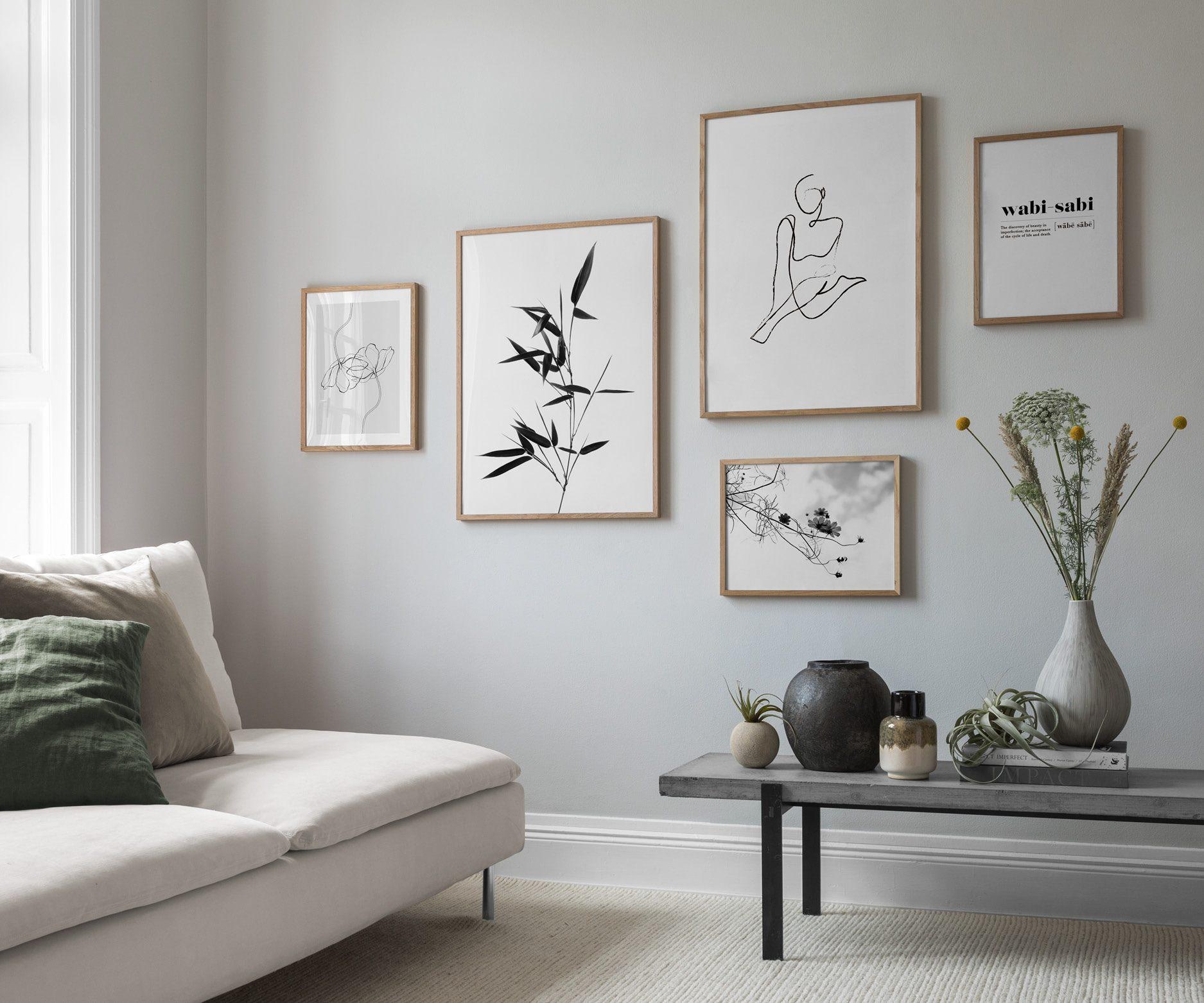 Lugn harmonisk inredning, minimalistisk tavelvägg
