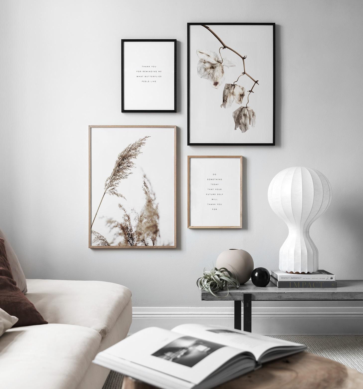Lugn naturnära inredning, tavlor i jordnära färger