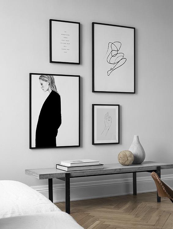 Snygg minimalistisk illustration, tavelvägg i svartvitt
