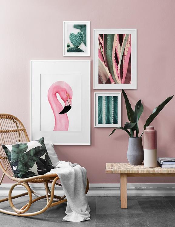 Inspiration tropisk inredning med flamingo och rosa vägg