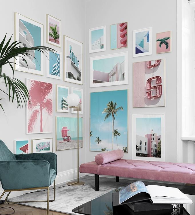 Art Deco tavelvägg, posters med bilder från Miami