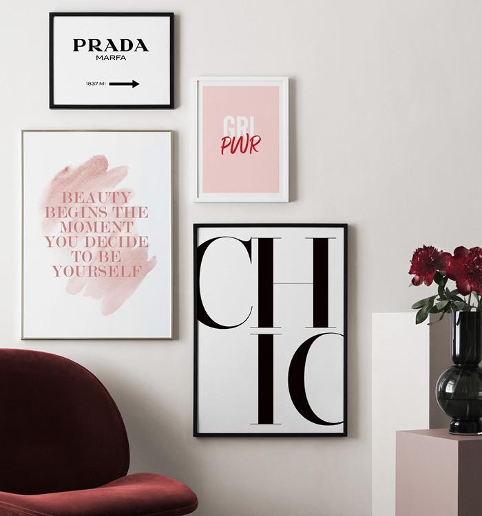 Inred med citattavlor grl pwr, chic och Prada