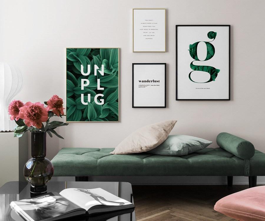 Inspiration posters med citat, wanderlust och unplug i gröna toner
