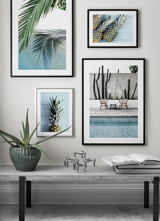 Posters med ananas och pooltema