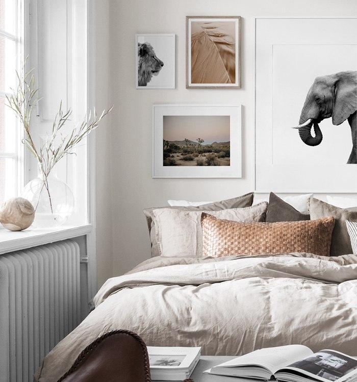 Inspireras av savannen i inredningen med elefantposter och lejontavla