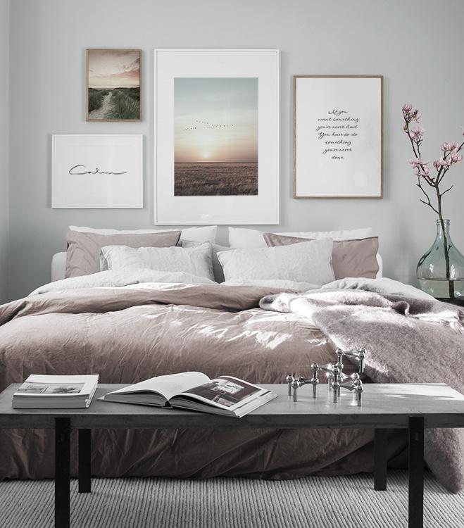 Harmonisk tavelvägg sovrum