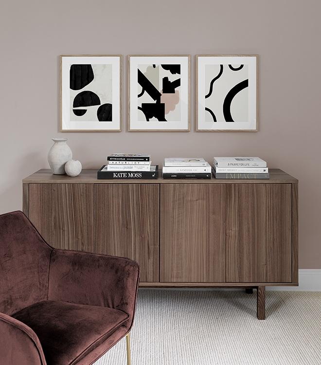 Snygga grafiska posters till vardagsrummet i jordnära toner