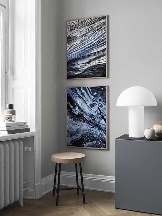 Abstrakt tavelpar i blått