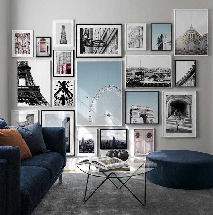 Trendiga fototavlor från London, Paris och New York till tavelvägg