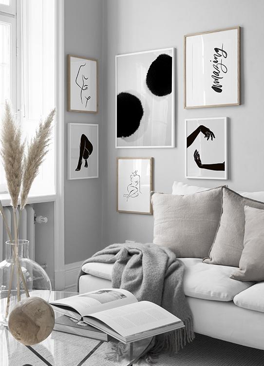 Inspiration till svartvit tavelvägg i vardagsrum, abstrakt linjekonst