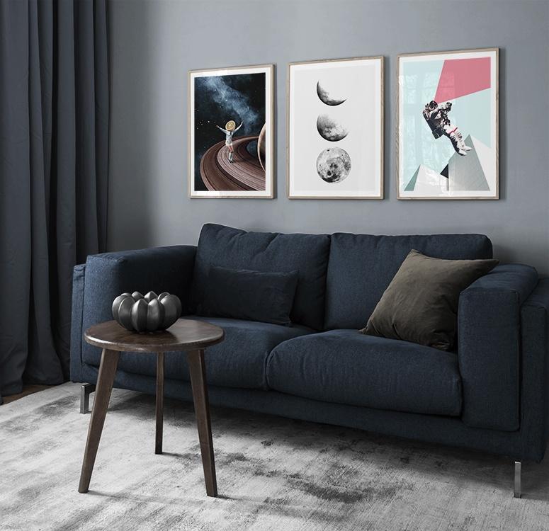 Inspiration vardagsrum trendiga abstrakta tavlor med planeter