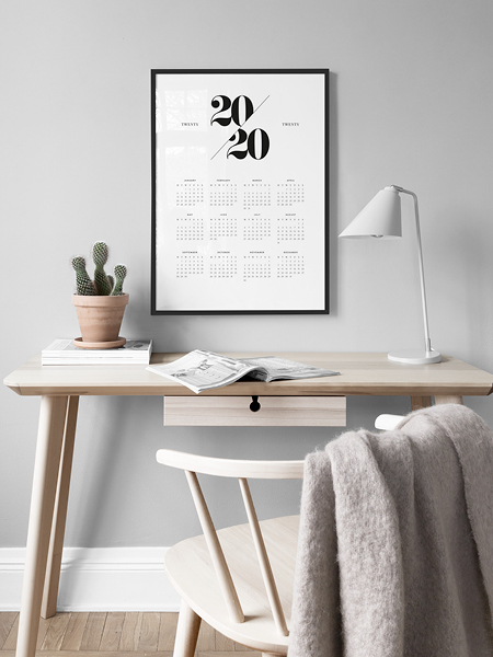 Stylish 2020 calendar poster from Desenio.
