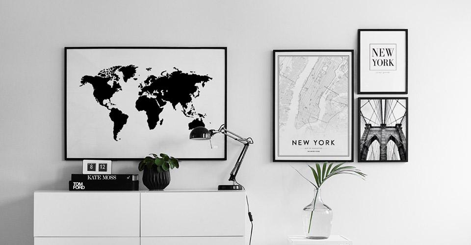 Mooie Posters Kopen : Posters met wereldkaart en steden wereldkaart online bekijken